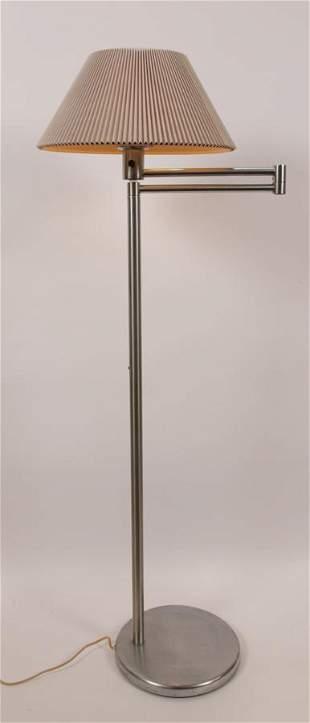 NESSEN STUDIOS BRUSHED ALUMINUM SWING ARM FLOOR LAMP H