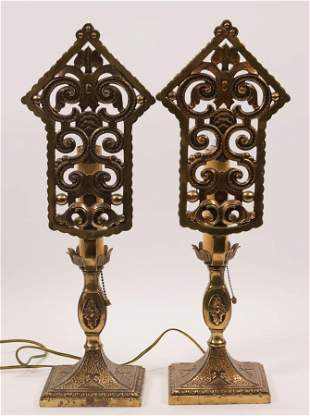 "BRASS TABLE LAMPS, C. 1930, PAIR, H 20"", W 5.5"""