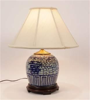 "CHINESE PORCELAIN LAMP, H 19"", DIA 16"""