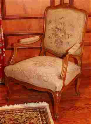 """LOUIS XV STYLE NEEDLEPOINT UPHOLSTERED ARMCHAIR, H 42"""","""