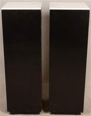 "CONTEMPORARY MARBLE TOP PEDESTALS, PAIR, H 38"", W 12"""