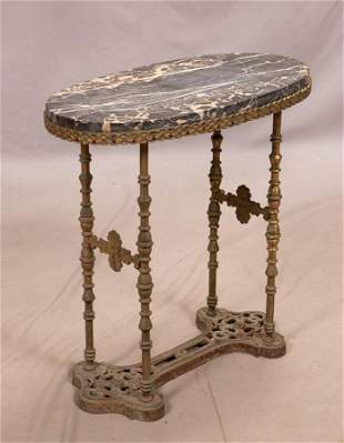 "CAST IRON AND MARBLE TOP OCCASIONAL TABLE H 23"" W 23"" D"