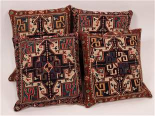 """SHIRVAN HAND WOVEN WOOL PILLOWS GROUP OF FOUR H 13.5"""" W"""
