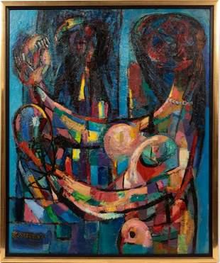 ABRAHAM RATTNER (AMERICAN, 1893-1978) OIL ON MASONITE,