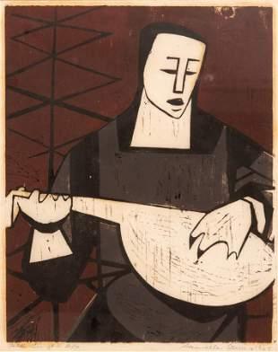 SAMELLA SANDERS LEWIS (AMERICAN, B. 1924) WOODCUT ON