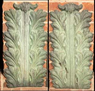 "TIN ACANTHUS FORM WALL PLAQUES, PAIR, H 24"", W 11"""