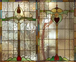 ART NOUVEAU STYLE LEADED STAINED GLASS WINDOW PANES