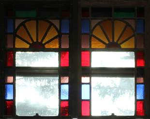 """LEADED STAINED GLASS WINDOW PANES PAIR H 41"""" W 23"""""""