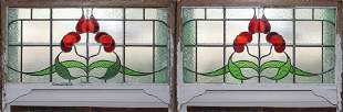 """LEADED STAINED GLASS WINDOW PANES PAIR H 19"""" W 40"""""""