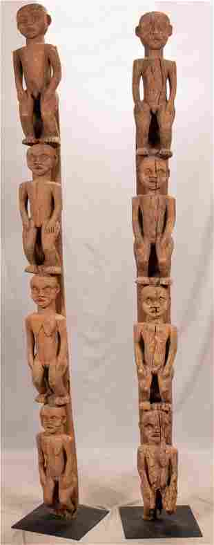 AFRICAN, BANGWA, CAMEROON, CARVED WOOD HOUSE POSTS PAIR
