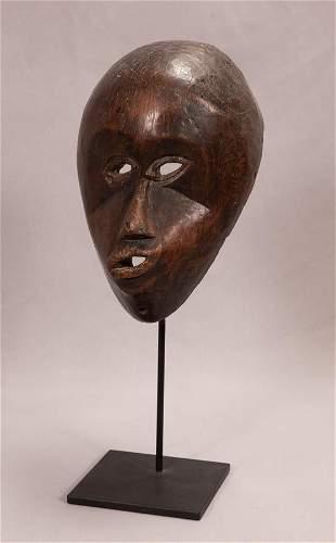 "AFRICAN CARVED WOOD MBANGU MASK, PENDE, CONGO. H 12.25"""