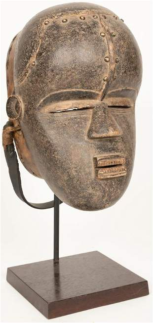 BETE, IVORY COAST, AFRICAN, WOOD, METAL, MASK EARLY/MID