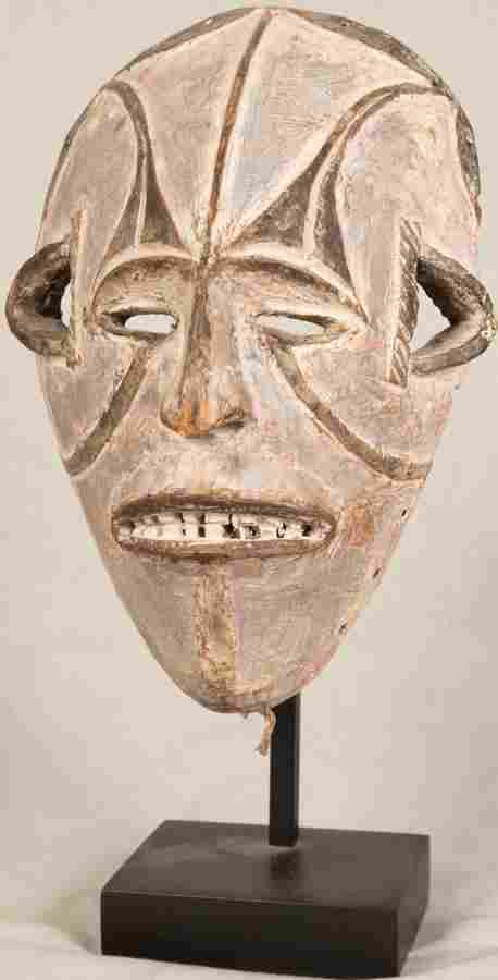 IBO, NIGERIA, AFRICAN CARVED WOOD & PIGMENT MASK