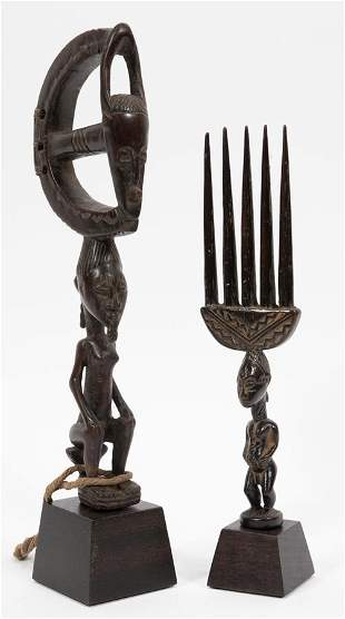 """AFRICAN WOOD CARVINGS, TWO MODERN L 8.5"""" - 11"""""""