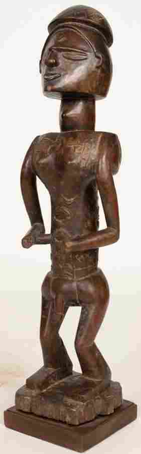 """PENDE, CONGO,  AFRICAN CARVED WOOD MALE SCULPTURE H 19"""""""
