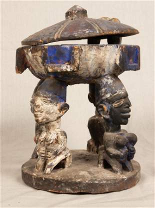 YORUBA, NIGERIA, AFRICAN, CARVED WOOD AND PIGMENT,