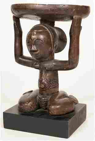 "LUBA, CONGO, AFRICAN WOOD STOOL H 10"" D 7"""