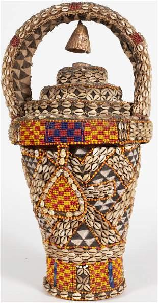 YORUBA, NIGERIA. AFRICAN, LINEN, BEADING, EMBROIDERY