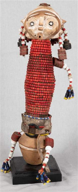 AFRICAN WOOD, DOLL, RED BEADS, FABRIC,  LEATHER,