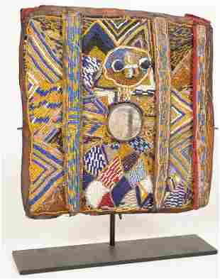 AFRICAN SCULPTURE (BAG) HIDE, BEADS, CLOTH, MIRROR H