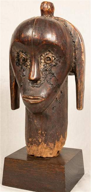 AFRICAN, GABON, FANG POLYCHROME CARVED WOOD RELIQUARY