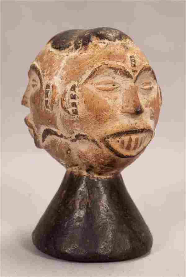 IBO, NIGERIA, AFRICAN, CARVED WOOD AND PIGMENT, DANCE