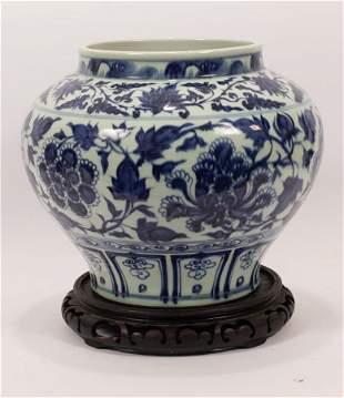 """CHINESE BLUE & WHITE PORCELAIN VASE, H 11.5"""", DIA 14"""""""