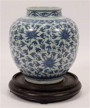 "CHINESE BLUE & WHITE PORCELAIN JAR, H 8.5"", DIA 8"""