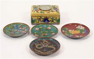 CHINESE CLOISONNE DISHES & BOX, 19TH.C. 5 PCS, W