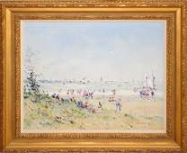 070004 JEAN PIERRE DUBORD OIL ON CANVAS LE PLAGE EN