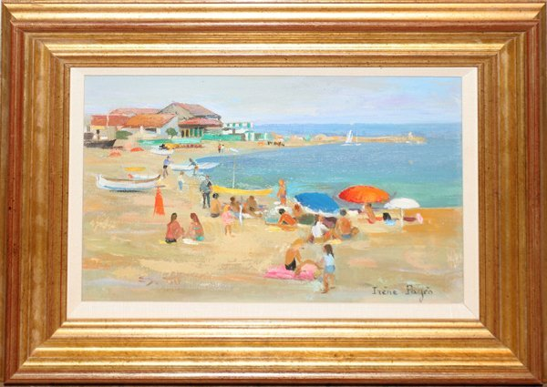 """070010: IRENE PAGES OIL ON CANVAS """"LE PLAGE D'ITALIE"""