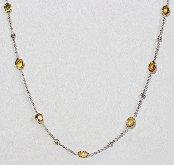 "070018: 6 CT YELLOW SAPPHIRE & DIAMONDS  NECKLACE L 16"""