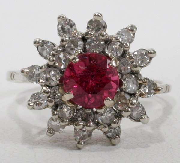 070019: 1.2CT RUBY AND DIAMOND LADIES WHITE GOLD RING
