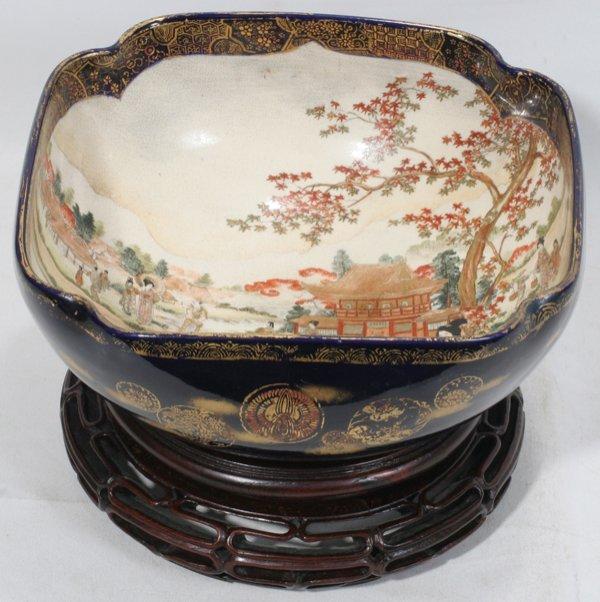 """070024: JAPANESE SATSUMA BOWL, SIGNED, C. 1900, H 4"""""""