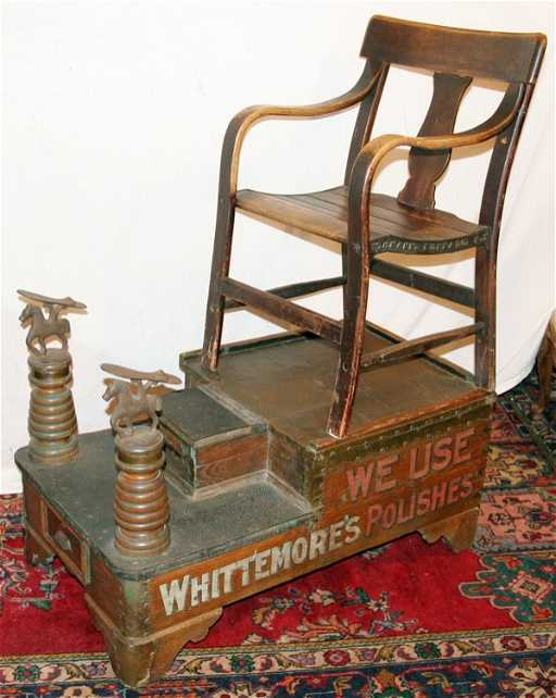 - 070219: VINTAGE OAK SHOE SHINE STAND W/CHAIR, C. 1900