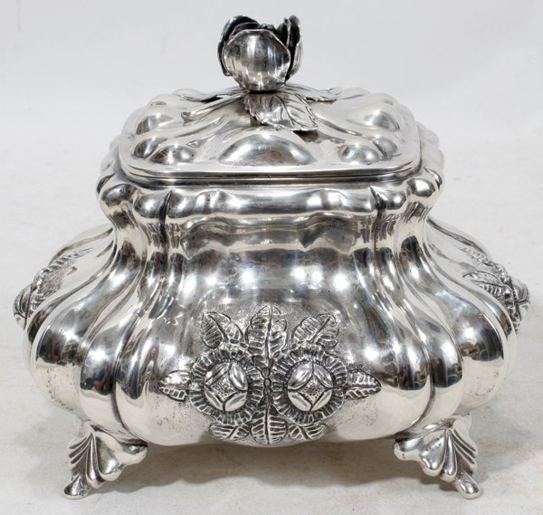 071009: AUSTRIA-HUNGARY ART NOUVEAU SILVER TEA CADDY
