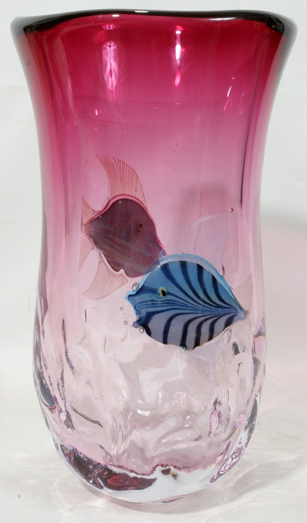 "071022: PINO SIGNORETTO GLASS AQUARIUM VASE, H 15"","