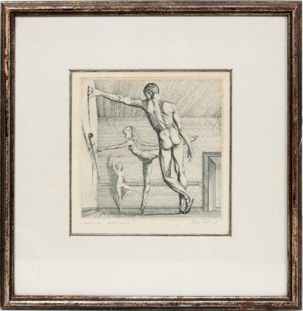 """072023: PAUL CADMUS, ETCHING, 1969, """"ARABESQUE"""":"""