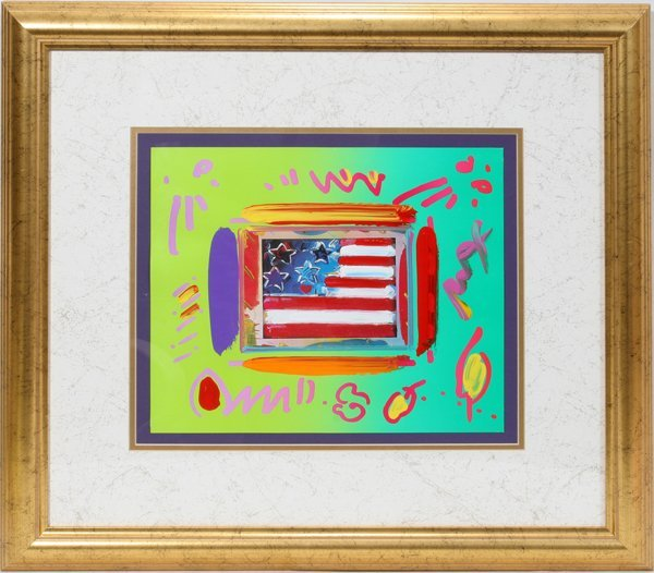 072025: PETER MAX, MIXED MEDIA ACRYLIC FLAG WITH HEART