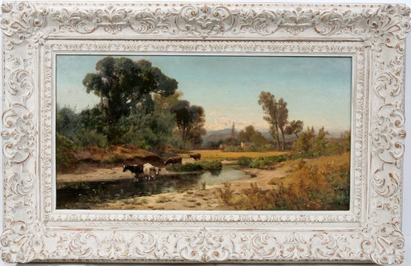 072029: WILLIAM KEITH OIL/CANVAS, LANDSCAPE WITH COWS