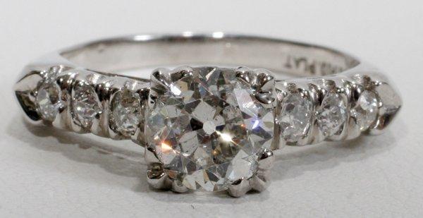 080005: 1.25 CT. ANTIQUE PLATINUM DIAMOND RING