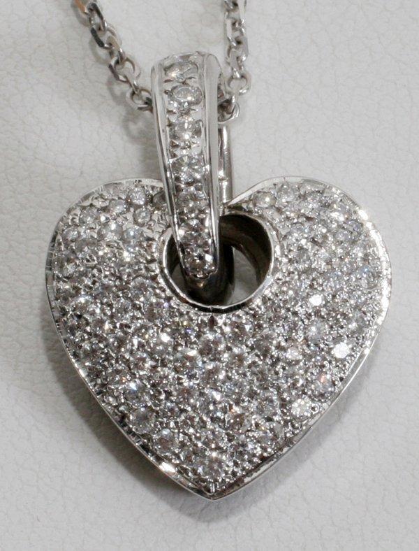 """080007: 1.25 CT. DIAMOND HEART PAVE FORM PENDANT, L 1"""""""