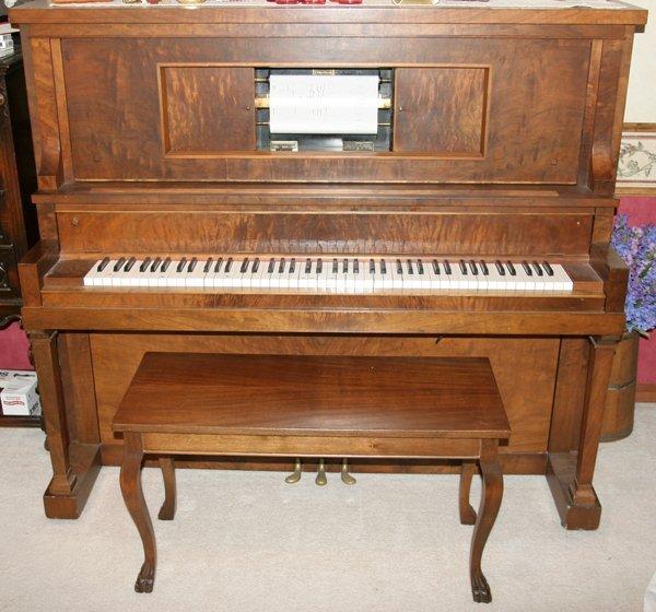 080011: STARCK MAHOGANY PLAYER PIANO, SERIAL #84547