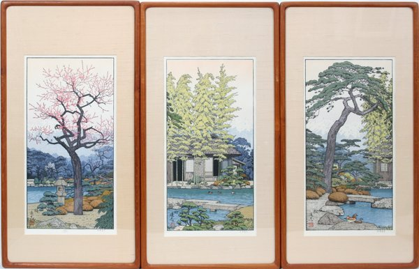 080264: TOSHI YOSHIDA COLORED WOODBLOCK PRINTS, 3 PCS.