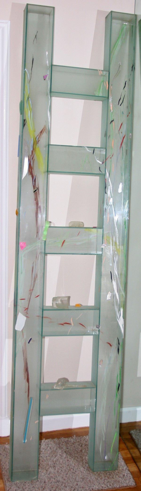 081012: THERMAN STATOM GLASS LADDER-FORM SCULPTURE,