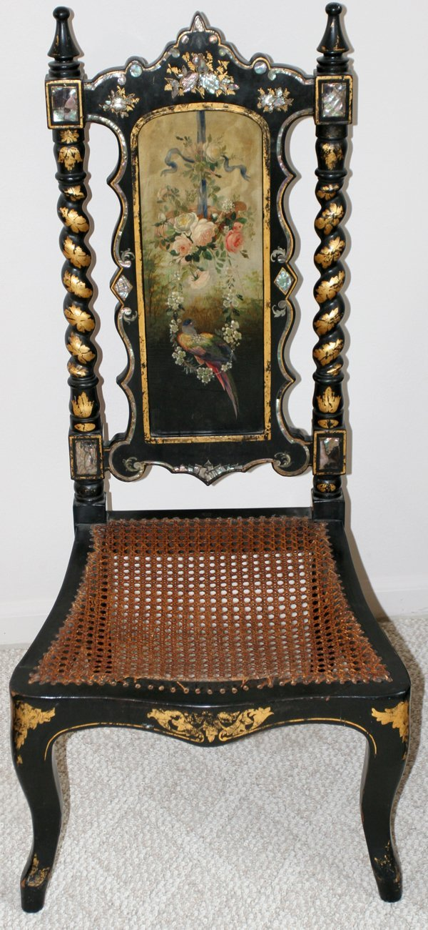 081017: VICTORIAN LACQUER & MOTHER-OF-PEARL CHAIR,
