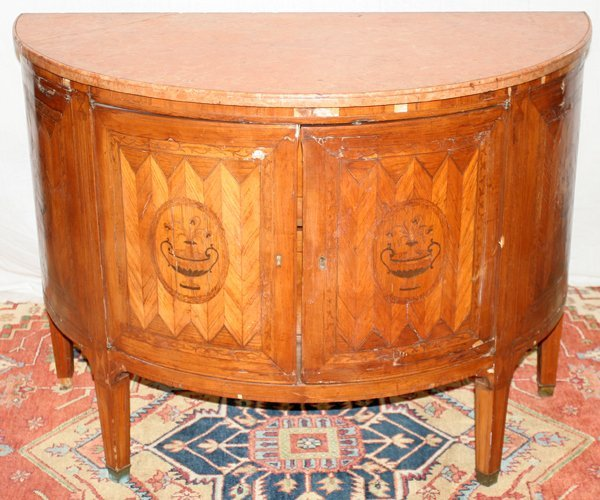 081019: NEOCLASSICAL MARQUETRY COMMODE, MARBLE TOP,
