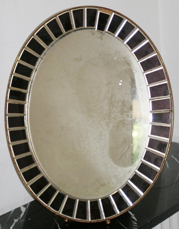 081021: FRENCH ART DECO MIRROR, C. 1930, WITH ACCENTS