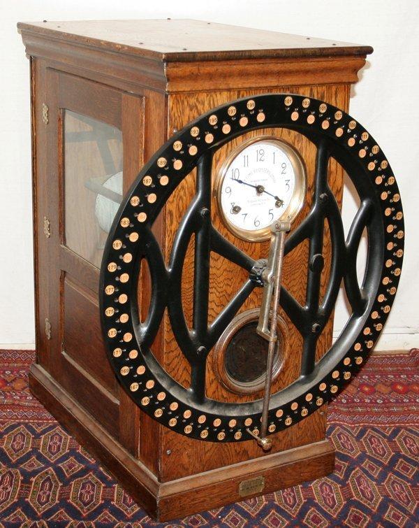 "081023: DEY TIME REGISTERS CLOCK, C. 1906, H 35"", L 27"""