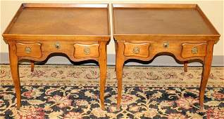 081207 MILLING ROAD FURNITURE WALNUT END TABLES PAIR